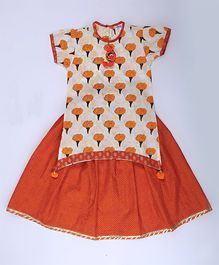 Amber Jaipur Leheriya Lehanga With Genda Phool Top Set - Orange