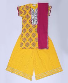 Amber Jaipur Gota Kurti With Palazzo & Dupatta Set Of 3 - Yellow & Pink