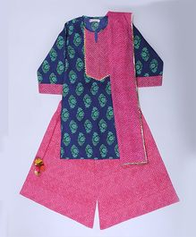Amber Jaipur Kurti With Palazzo & Dupatta Set - Pink Blue & Green