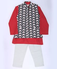Amber Jaipur Kurta With Pajama & Jacket Set Of 3 - Red Grey & White