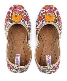 Amber Jaipur Floral Jutis With Yellow Pom Pom - Multicolor