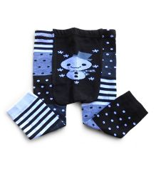 Dazzling Dolls Dots N Stripes Warm Leggings - Blue & Black