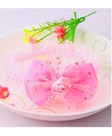 Dazzling Dolls Dainty Sequined Floral Head Band - Pink
