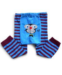 Dazzling Dolls Cartoon Print Striped Warm Leggings - Blue