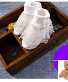Dazzling Dolls Lace & Bow  Ridged Thick Party Socks - White