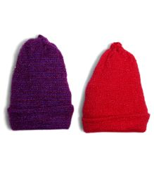 Soft Tots Set Of 2 Caps - Purple & Red