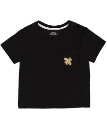 One Friday Bee Applique Boys Half Sleeve T-Shirt - Black