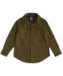 One Friday Boys Full Sleeve Print Shirt - Light Olive