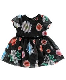 One Friday Girls Floral Party Wear Dress - Black