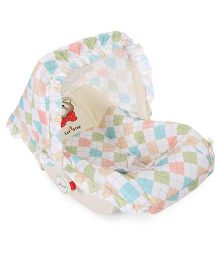 1st Step Carry Cot Cum Rocker Teddy Face Print - White
