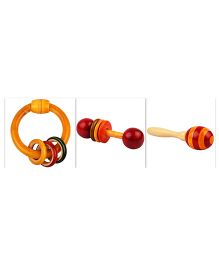 Playthings Baby Rattle And Teether Gift Set Pack of 3 - Brown And Red