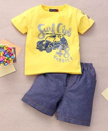 Great Babies Surf Club 48 Varsity Print T-Shirt & Shorts Set  - Yellow