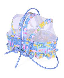 Mothertouch Rocking Cradle Cum Bassinet With Mosquito Net - Blue & Pink