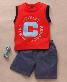 Great Babies Printed T-Shirt & Shorts Set - Red & Grey
