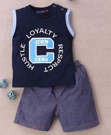 Great Babies John Cena Print T-Shirt & Shorts Set - Navy Blue