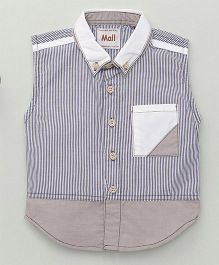 Kiddy Mall Striped Sleeveless Shirt - Grey