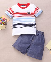 Great Babies Stripe Design T-Shirt & Shorts Set  - White