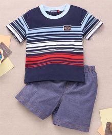 Great Babies Stripe Design T-Shirt & Shorts Set  - Navy Blue
