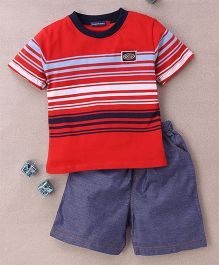 Great Babies Stripe Design T-Shirt & Shorts Set  - Red