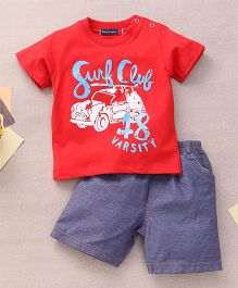 Great Babies Surf Club 48 Varsity Print T-Shirt & Shorts Set With Snap Buttons  - Red