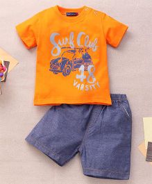Great Babies Surf Club 48 Varsity Print T-Shirt & Shorts Set With Snap Buttons  - Orange