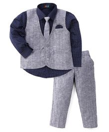 Robo Fry 3 Piece Party Suit With Tie - Navy Blue & Grey