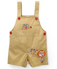 Babyhug Solid Color Dungaree With Lion Embroidery - Beige