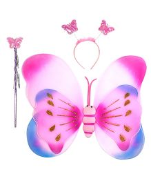 Aarika Butterfly Double Shaded Wings With Magic Wand & Hairband Fairy Costume Set - Pink