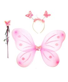 Aarika Butterfly Wings With Magic Wand & Hairband Fairy Costume Set - Pink