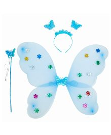 Aarika Butterfly Wings With Magic Wand & Hairband Fairy Costume Set - Light- Blue