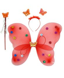 Aarika Butterfly Wings With Magic Wand & Hairband Fairy Costume Set - Red