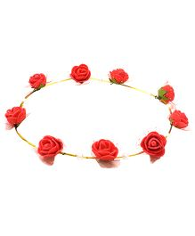 Aarika Beautifully Handcrafted Floral Tiara With Pearl - Red