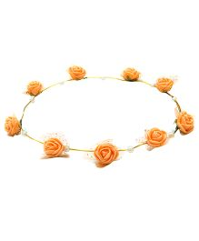 Aarika Beautifully Handcrafted Floral Tiara With Pearl - Orange
