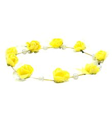 Aarika Beautifully Handcrafted Floral Tiara With Pearl - Yellow