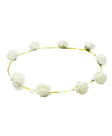 Aarika Beautifully Handcrafted Floral Tiara With Pearl - White