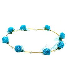 Aarika Beautifully Handcrafted Floral Tiara With Pearl - Blue