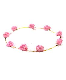 Aarika Beautifully Handcrafted Floral Tiara With Pearl - Pink