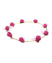 Aarika Beautifully Handcrafted Floral Tiara With Pearl - Hot Pink
