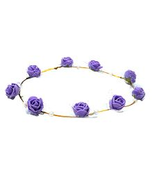 Aarika Beautifully Handcrafted Floral Tiara With Pearl - Purple
