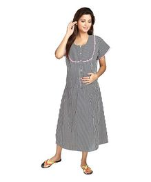 Eazy Half Sleeves Maternity Nursing Night Gown Stripes Print - Blue