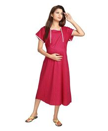 Eazy Half Sleeves Maternity Nursing Night Gown - Pink