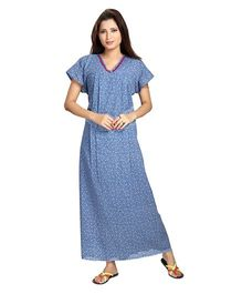 Eazy Half Sleeves Maternity Nursing Night Gown Floral Print - Blue
