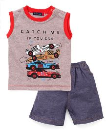 Great Babies Racing Cars Print T-Shirt & Shorts Set - Red