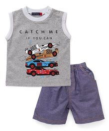 Great Babies Racing Cars Print T-Shirt & Shorts Set - Grey