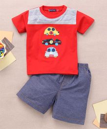 Great Babies T-Shirt & Shorts Set With 3 Car Patches - Red