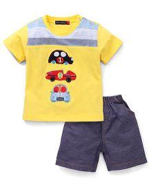 Great Babies 3 Car Patch T-Shirt & Shorts Set - Yellow