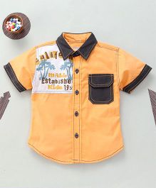 Kiddy Mall Dual Tone Shirt With Front Pocket - Orange