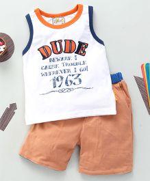 Kiddy Mall Dude Print T-Shirt With Shorts - Orange & White