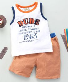 Kiddy Mall Dude Print T-Shirt With Shorts - Orange & White
