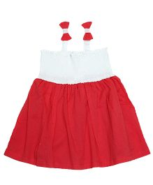 Young Birds Shirring Dress - Red